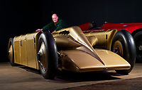 BNPS.co.uk (01202 558833)<br /> Pic: PhilYeomans/BNPS<br /> <br /> Peter Lufflum, Museum Supervisor at the National Motor Museum cleans the stunning machine from the halcyon days of British record breaking.<br /> <br /> Golden shot in the arm - Beautiful record breaker Golden Arrow is to receive new funding 90 years after smashing the Land speed record for Britain.<br /> <br /> The National Motor Museum at Beaulieu has been awarded £75,000 by Arts Council England to allow fresh research into the historic machine and the collections relating to it, as well as some conservation work on particularly fragile items.  <br /> <br /> The distinctive 1929 Golden Arrow was a wonder of its time, a harmonious blend of technology and design, produced a masterpiece of Art Deco expression which paved the way for two decades of unbroken British world record-breaking success.<br /> <br /> With Major Henry Segrave in the driving seat,  the arrow shattered its target and set a new Land Speed Record of 231.36mph at Daytona Beach in Florida in March 1929.