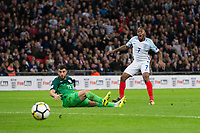 England's Raheem Sterling reacts to a missed chance <br /> <br /> Photographer Craig Mercer/CameraSport<br /> <br /> FIFA World Cup Qualifying - European Region - Group F - England v Solvenia - Thursday 5th October 2017 - Wembley Stadium - London<br /> <br /> World Copyright &copy; 2017 CameraSport. All rights reserved. 43 Linden Ave. Countesthorpe. Leicester. England. LE8 5PG - Tel: +44 (0) 116 277 4147 - admin@camerasport.com - www.camerasport.com
