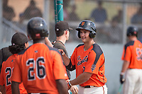 San Francisco Giants first baseman Gio Brusa (23) is congratulated by teammates after hitting a home run during an Instructional League game against the Kansas City Royals at the Giants Training Complex on October 17, 2017 in Scottsdale, Arizona. (Zachary Lucy/Four Seam Images)