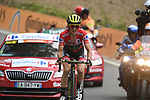 Race leader Simon Yates (GBR) Mitchelton-Scott alone in 3rd position on the final climb near the end of Stage 20 of the La Vuelta 2018, running 97.3km from Andorra Escaldes-Engordany to Coll de la Gallina, Spain. 15th September 2018.                   <br /> Picture: Colin Flockton | Cyclefile<br /> <br /> <br /> All photos usage must carry mandatory copyright credit (&copy; Cyclefile | Colin Flockton)