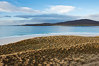 View over dunes towards Taransay island, Luskentyre beach, Isle of Harris, Outer Hebrides, Scotland