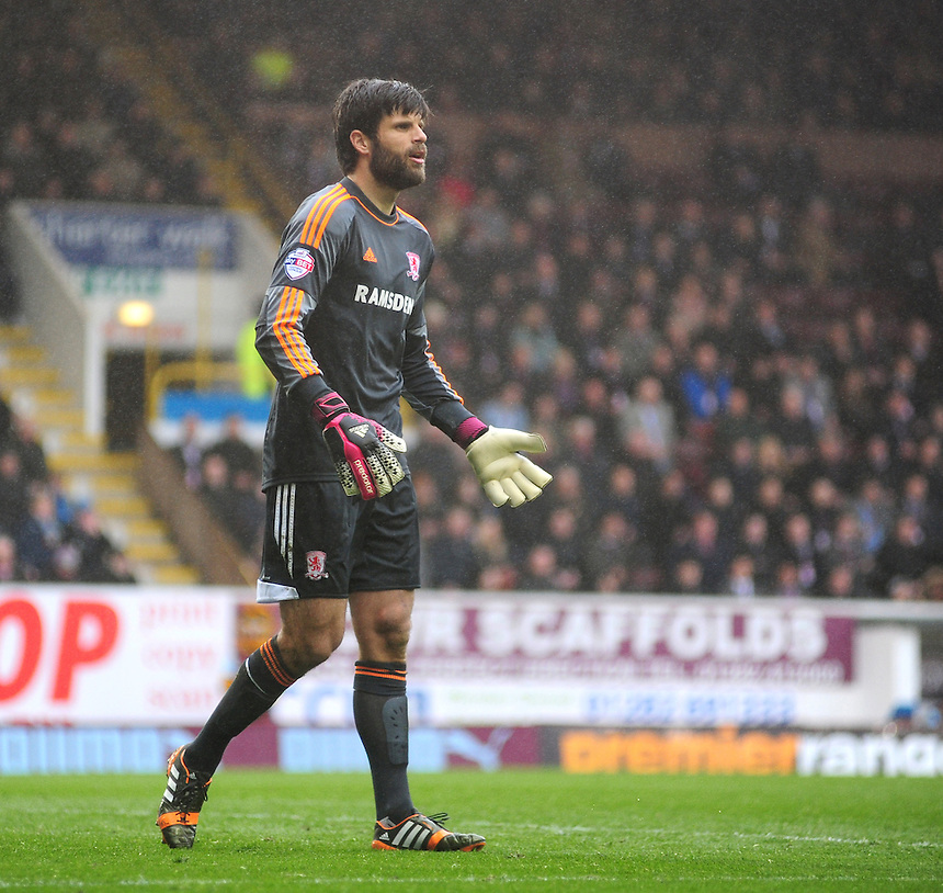 Middlesbrough's Dimitrios Konstantopoulos <br /> <br /> Photo by Chris Vaughan/CameraSport<br /> <br /> Football - The Football League Sky Bet Championship - Burnley v Middlesbrough - Saturday 12th April 2014 - Turf Moor - Burnley<br /> <br /> &copy; CameraSport - 43 Linden Ave. Countesthorpe. Leicester. England. LE8 5PG - Tel: +44 (0) 116 277 4147 - admin@camerasport.com - www.camerasport.com