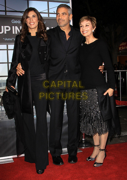"ELISABETTA CANALIS, GEORGE CLOONEY & NINA WARREN.""Up In The Air"" Los Angeles Premiere held At Mann Village Theatre. Resort . Spa, Westwood, California, USA..November 30th, 2009.full length couple mother mom mum son family black jacket coat suit trousers skirt silver .CAP/ADM/KB.©Kevan Brooks/AdMedia/Capital Pictures."