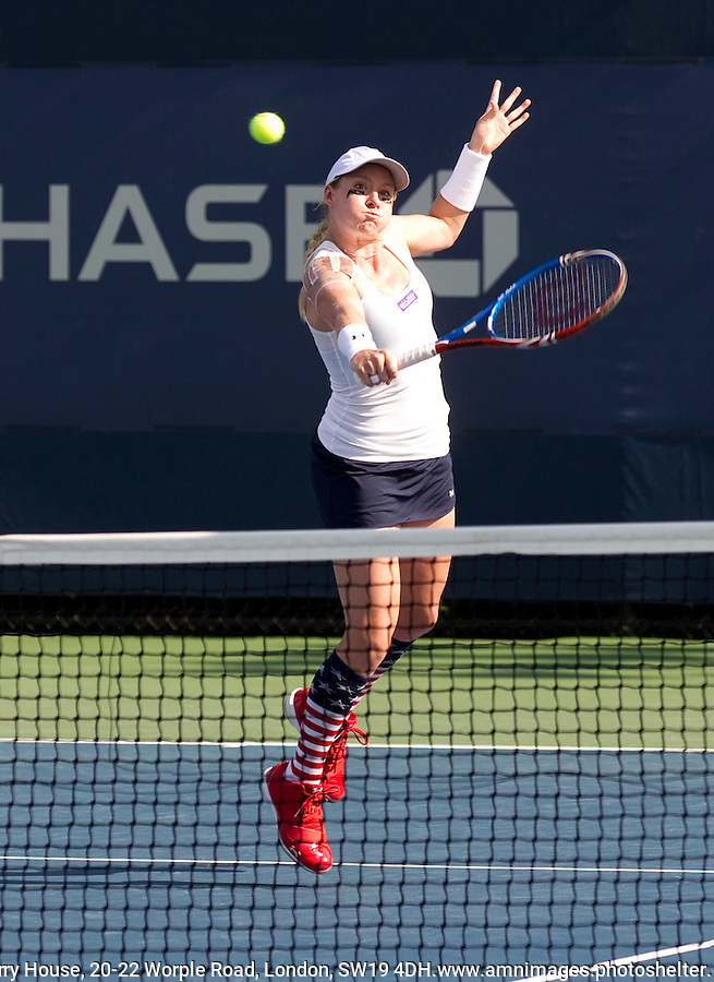 JARMILA GAJDOSOVA (AUS) & BETHANIE MATTEK-SANDS (USA) (16) against JELENA DOKIC (AUS) & VIRGINIE RAZZANO (FRA) in the first round of the Women's Doubles. Gajdosova & Mattek-Sands beat Dokic & Rezzao 6-2 6-4..Tennis - Grand Slam - US Open - Flushing Meadows - New York - Day 03 - Tue August 31st  2011..© AMN Images, Barry House, 20-22 Worple Road, London, SW19 4DH, UK..+44 208 947 0100.www.amnimages.photoshelter.com.www.advantagemedianetwork.com.