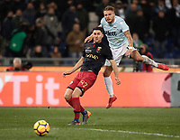 Calcio, Serie A: Lazio - Genoa, Roma, Stadio Olimpico, 5 Febbraio 2018. <br /> Lazio's Ciro Immobile (r) in action with Genoa's Ervin Zukanovic (l) during the Italian Serie A football match between Lazio and Genoa at Rome's Stadio Olimpico, February 5, 2018.<br /> UPDATE IMAGES PRESS/Isabella Bonotto