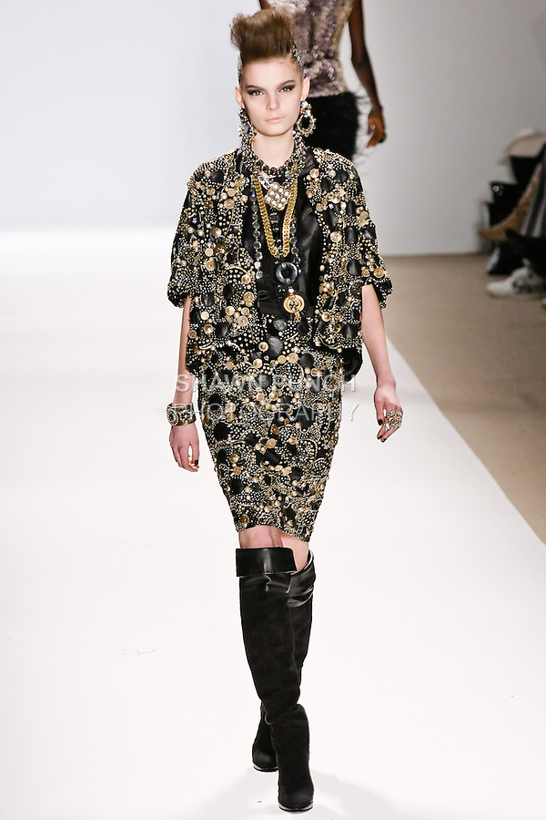 Yulia Leontieva walks the runway in a Naeem Khan Fall 2010 outfit, during Mercedes-Benz Fashion Week Fall 2010.