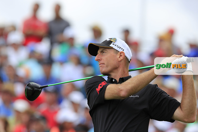 Jim Furyk (USA) tees off the 1st tee to start his match during Sunday's Final Round of the 117th U.S. Open Championship 2017 held at Erin Hills, Erin, Wisconsin, USA. 18th June 2017.<br /> Picture: Eoin Clarke | Golffile<br /> <br /> <br /> All photos usage must carry mandatory copyright credit (&copy; Golffile | Eoin Clarke)