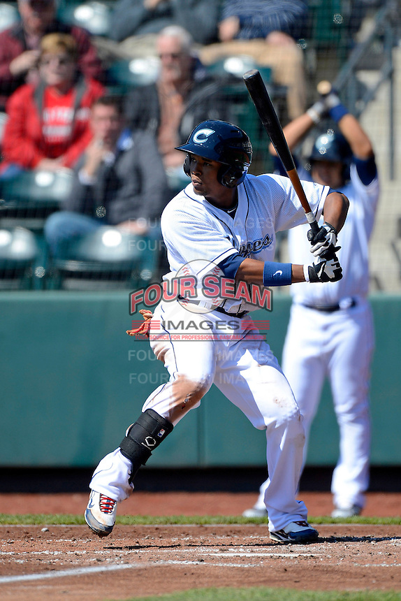 Columbus Clippers outfielder Cedric Hunter #23 during a game against the Toledo Mudhens on April 22, 2013 at Huntington Park in Columbus, Ohio.  Columbus defeated Toledo 3-0.  (Mike Janes/Four Seam Images)