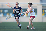 Santa Barbara, CA 02/18/12 - Danielle DeWaal (BYU #28) and Liz Fitzgerald (Arizona State #10) in action during the Arizona State vs BYU matchup at the 2012 Santa Barbara Shootout.  BYU defeated Arizona State 10-8.