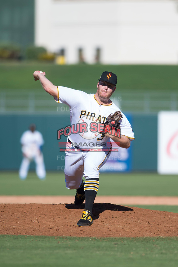 Surprise Saguaros relief pitcher Matt Eckelman (34), of the Pittsburgh Pirates organization, delivers a pitch during an Arizona Fall League game against the Salt River Rafters on October 9, 2018 at Surprise Stadium in Surprise, Arizona. Salt River defeated Surprise 10-8. (Zachary Lucy/Four Seam Images)