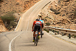 The breakaway featuring Nathan Van Hooydonck (BEL) CCC Team, Stijn Vandenbergh (BEL) AG2R La Mondiale, Alexis Guerin (FRA) Delko-Marseille Provence and Adam de Vos (CAN) Rally-UHC during Stage 6 of the 10th Tour of Oman 2019, running 135.5km from Al Mouj Muscat to Matrah Corniche, Oman. 21st February 2019.<br /> Picture: ASO/K&aring;re Dehlie Thorstad | Cyclefile<br /> All photos usage must carry mandatory copyright credit (&copy; Cyclefile | ASO/K&aring;re Dehlie Thorstad)