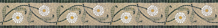 "5 1/2"" Daisy Chain border, a hand-cut stone mosaic, shown in honed Fontenay Claire, polished Verde Alpi, Persian Gold, Thassos, Verde Luna."