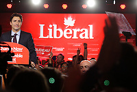 Liberal Leader Justin Trudeau and his wife Sophie Gregoire celebrate victory on Canadian  election night, September 19, 2015<br /> <br /> PHOTO : Pierre Roussel - Agence Quebec Presse