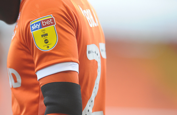 Close up of Blackpool's Marc Bola's shirt, showing the Sky Bet sleeve badge<br /> <br /> Photographer Kevin Barnes/CameraSport<br /> <br /> The EFL Sky Bet League One - Blackpool v Walsall - Saturday 9th February 2019 - Bloomfield Road - Blackpool<br /> <br /> World Copyright &copy; 2019 CameraSport. All rights reserved. 43 Linden Ave. Countesthorpe. Leicester. England. LE8 5PG - Tel: +44 (0) 116 277 4147 - admin@camerasport.com - www.camerasport.com
