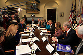United States President Barack Obama meets with members of the President's Council of Advisors on Science and Technology in the Roosevelt Room of the White House in Washington, DC on March 27, 2015.<br /> Credit: Dennis Brack / Pool via CNP