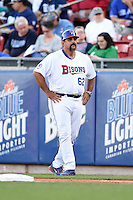 Buffalo Bisons coach Sal Fasano (62) during a game against the Durham Bulls on July 10, 2014 at Coca-Cola Field in Buffalo, New  York.  Durham defeated Buffalo 3-2.  (Mike Janes/Four Seam Images)