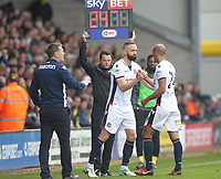 Bolton Wanderers Aaron Wilbraham replaces  Karl Henry<br /> <br /> Photographer Mick Walker/CameraSport<br /> <br /> The EFL Sky Bet Championship - Burton Albion v Bolton Wanderers - Saturday 28th April 2018 - Pirelli Stadium - Burton upon Trent<br /> <br /> World Copyright &copy; 2018 CameraSport. All rights reserved. 43 Linden Ave. Countesthorpe. Leicester. England. LE8 5PG - Tel: +44 (0) 116 277 4147 - admin@camerasport.com - www.camerasport.com
