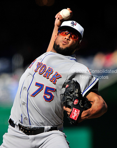 New York Mets pitcher Francisco Rodriguez (75) works in the ninth inning against the Washington Nationals at Nationals Park in Washington, D.C. on Sunday, July 4, 2010.  Rodriguez earned his 20th save in the Mets' 9 - 5 victory..Credit: Ron Sachs / CNP.(RESTRICTION: NO New York or New Jersey Newspapers or newspapers within a 75 mile radius of New York City)
