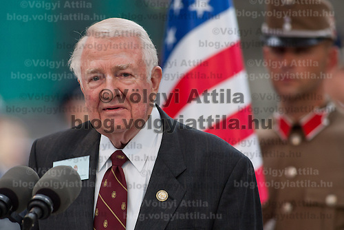 Edwin Meese (L) former minister of justice for the USA delivers his speech during the inauguration of the new statue of Ronald Reagan on the square named Freedom in Budapest, Hungary. Wednesday, 29. June 2011. ATTILA VOLGYI