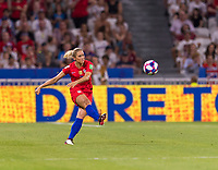 LYON,  - JULY 2: Abby Dahlkemper #7 punts the ball during a game between England and USWNT at Stade de Lyon on July 2, 2019 in Lyon, France.