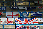 FC Halifax Town 1 Mickleover Sports 1, 23/04/2011. The Shay, Northern Premier League. Supporters flags and banners on display in one of the stands at The Shay, home of FC Halifax Town, on the day that they were presented with the Northern Premier League Premier Division championship trophy following their match with Mickleover Sports. The club replaced Halifax Town A.F.C. who went into administration during the 2007–08 season, having previously been members of the Football League for 80 years. Their promotion meant they would play in Conference North in the 2011-12 season. Photo by Colin McPherson.