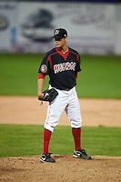 Batavia Muckdogs pitcher Jeffrey Kinley (30) looks in for the sign during the second game of a doubleheader against the Mahoning Valley Scrappers on July 2, 2015 at Dwyer Stadium in Batavia, New York.  Mahoning Valley defeated Batavia 3-0.  (Mike Janes/Four Seam Images)
