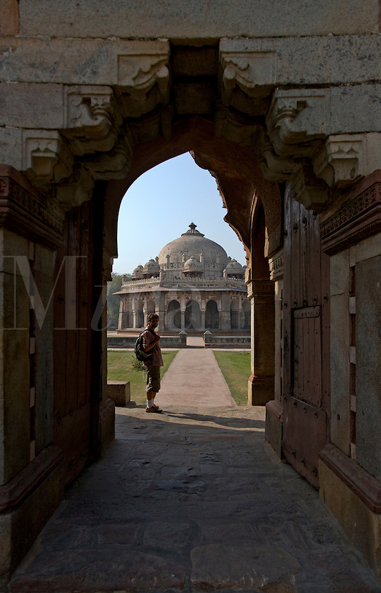 The octagonal tomb of ISA KHAN on the grounds of HUMAYUN'S TOMB is a fine example of LODI architechture - NEW DELHI, INDIA