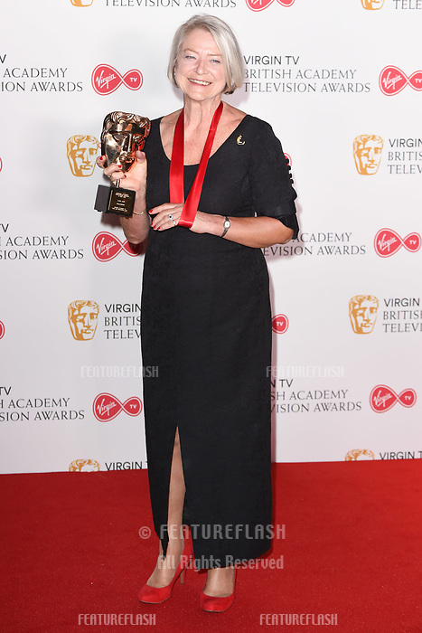 Kate Adie in the winners room for the BAFTA TV Awards 2018 at the Royal Festival Hall, London, UK. <br /> 13 May  2018<br /> Picture: Steve Vas/Featureflash/SilverHub 0208 004 5359 sales@silverhubmedia.com