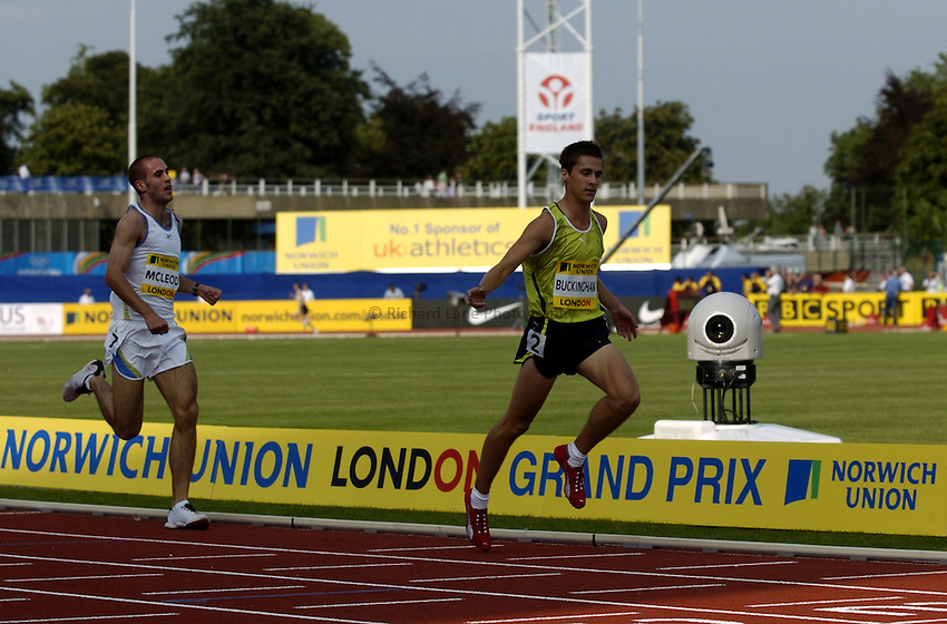Photo: Richard Lane..Norwich Union London Grand Prix Athletics at Crystal Palace. 30/07/2004..Mens 3000m under 20, Mark Buckingham crosses the line to win.