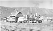 D&amp;RGW #268 and caboose #0588 in front of Crested Butte depot.<br /> D&amp;RGW  Crested Butte, CO  Taken by Richardson, Robert W. - 7/3/1952
