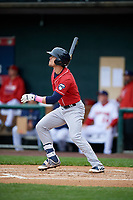 New Hampshire Fisher Cats second baseman Cavan Biggio (6) follows through on a swing during the first game of a doubleheader against the Harrisburg Senators on May 13, 2018 at FNB Field in Harrisburg, Pennsylvania.  New Hampshire defeated Harrisburg 6-1.  (Mike Janes/Four Seam Images)