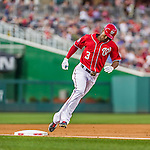 22 August 2015: Washington Nationals outfielder Michael Taylor rounds third after hitting a home-run against the Milwaukee Brewers at Nationals Park in Washington, DC. The Nationals defeated the Brewers 6-1 in the second game of their 3-game weekend series. Mandatory Credit: Ed Wolfstein Photo *** RAW (NEF) Image File Available ***