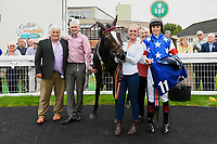 Connections of Love and Be Loved in the Winners enclosure after winning the Dartmouth General Contractors Ltd Handicap (Div 2)  during Afternoon Racing at Salisbury Racecourse on 7th August 2017