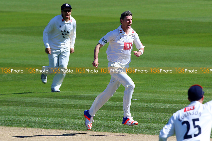 Steve Magoffin of Sussex celebrates taking the wicket of Alastair Cook during Sussex CCC vs Essex CCC, Specsavers County Championship Division 2 Cricket at The 1st Central County Ground on 18th April 2016