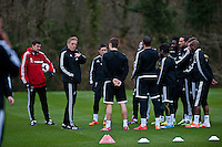 Thursday 20 March 2014<br /> Pictured: Garry Monk, Manager of Swansea City talk to players during training<br /> Re: Swansea City Training at their Fairwood training facility, Swansea, Wales,UK
