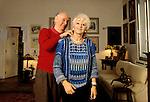 Milano,  Dario Fo a casa con sua moglie Franca Rame, Milan, Dario Fo at home in Milan with  his wife Franca Rame 2000 CIRCA