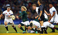 Faf de Klerk of South Africa kicks during the 2018 Castle Lager Incoming Series 2nd Test match between South Africa and England at the Toyota Stadium.Bloemfontein,South Africa. 16,06,2018 Photo by Steve Haag / stevehaagsports.com