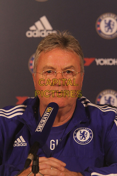Guus Hiddink attends Chelsea's press conference ahead of their away match against Norwich tomorrow (Tuesday)<br /> CAP/DS<br /> &copy;DS/Capital Pictures