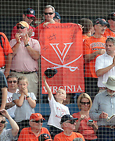 Virginia fans cheer on their team in the ninth inning of an NCAA college baseball tournament super regional game against Maryland in Charlottesville, Va., Sunday, June 8, 2014. Virginia defeat Maryland 7-3. (AP Photo/Andrew Shurtleff)