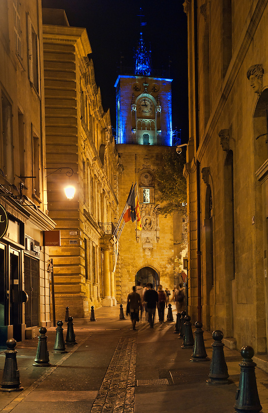Nighttime view of the clock tower in the Place de l'Hôtel de Ville, Aix-en-Provence.
