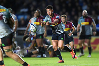 Marcus Smith of Harlequins passes the ball. Gallagher Premiership match, between Harlequins and Leicester Tigers on May 3, 2019 at the Twickenham Stoop in London, England. Photo by: Patrick Khachfe / JMP