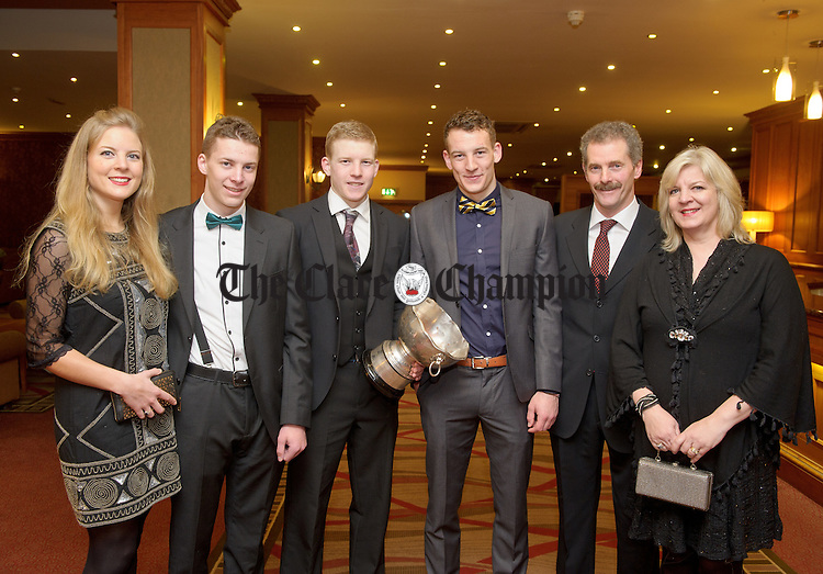 The  Foudy's; Karen, Stephen, Seamus, Brian, James and Carloine at the Inagh-Kilnamona victory social in the Falls Hotel, Ennistymon. Photograph by John Kelly.