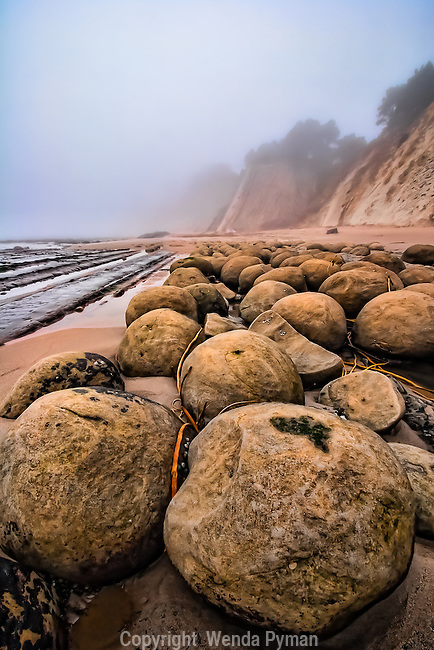 Dramatic round boulders emerge at low tide in coastal fog.