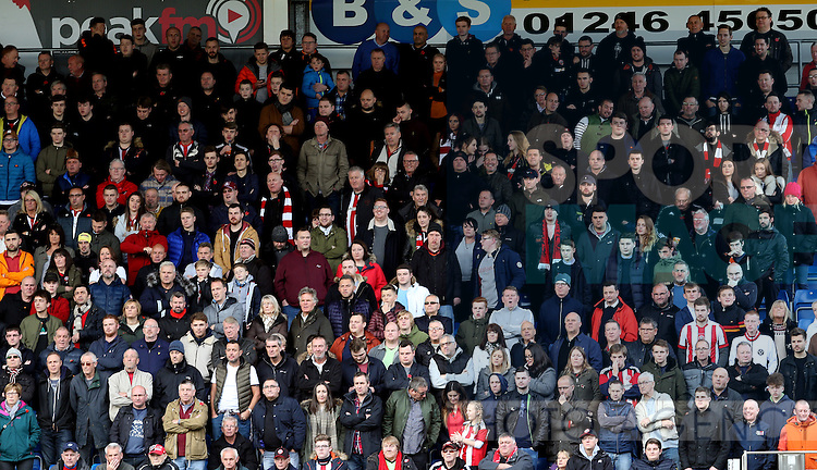 Sheffield Utd fans for gallery during the English League One match at the Proact Stadium, Chesterfield. Picture date: November 13th, 2016. Pic Simon Bellis/Sportimage
