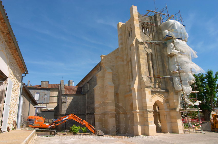 A unique winery wine bottle storage building: an old disaffected church in the village Potensac undergoing renovation work Chateau Potensac Cru Bourgeois Ordonnac Medoc Bordeaux Gironde Aquitaine France