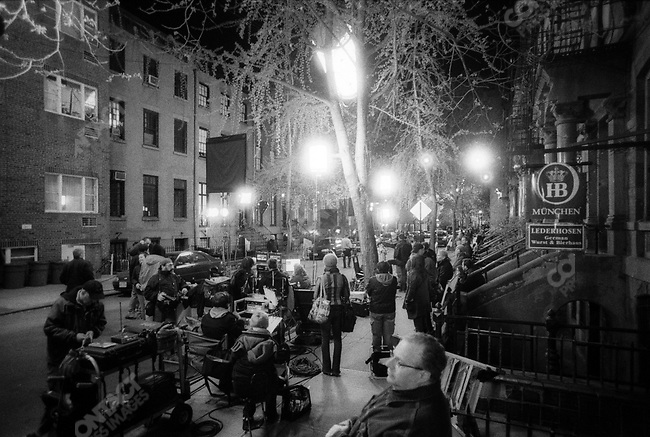 """Movie set of the film """"Duplicity"""" staring Julia Roberts and Clive Owen. Grove Street, West Village, New York City, NY, April 22, 2008"""