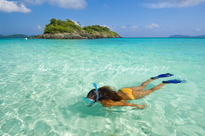 Alexa Putnam with snorkel gear<br /> Virgin Islands National Park<br /> St. John<br /> U.S. Virgin Islands