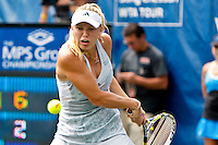 April 11, 2010:  MPS Group Championships.  Caroline Wozniacki (DEN) returns a backhand shot to Olga Govortsova (BLR)(not pictured) during finals singles action at the MPS Group Championships played at the Sawgrass Country Club in Ponte Vedra, Florida.  Caroline Wozniacki (DEN) defeated Olga Govortsova (BLR) 6-2, 7-5 to win the tournament for the second consecutive year..