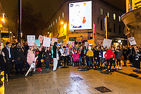 Protesters march along Queen Street in Cardiff, Wales, to protest Donald Trump's ban on people from certain Muslim-dominant countries from entering the US. Monday 30 January 2017