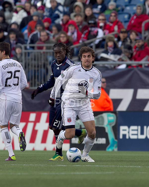 DC United defender Dejan Jakovic (5) controls the ball. In a Major League Soccer (MLS) match, the New England Revolution defeated DC United, 2-1, at Gillette Stadium on March 26, 2011.